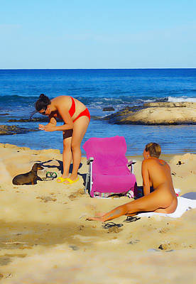 Nude Girl Dog Photograph - Friends On The Beach by Digby  Merry