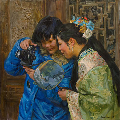 China Painting - Friends by Victoria Kharchenko