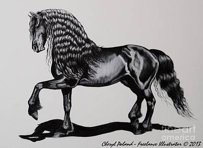 Friesian Mare Print by Cheryl Poland