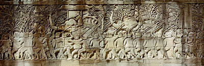 Bas-relief Photograph - Frieze, Angkor Wat, Cambodia by Panoramic Images