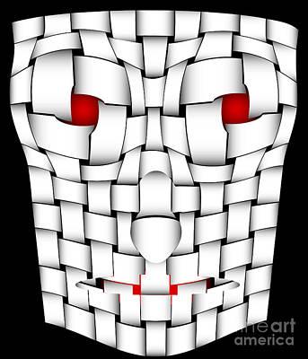Spooky Digital Art - Frightening Mask by Michal Boubin