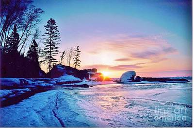 Temperance River Photograph - Temperence River Mouth Sunrise - Winter by Rory Cubel