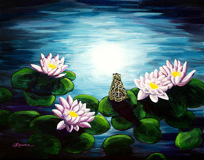 Waterlilies Painting - Frog In A Moonlit Pond by Laura Iverson