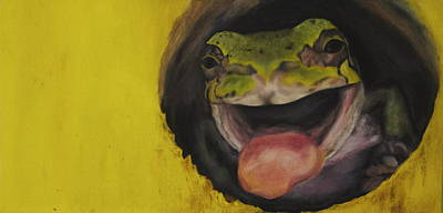 Oil Painting - Birdhouse Frog by Lindsey Cockrum
