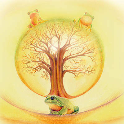 Frog Under Tree Of Life Print by Robin Aisha Landsong