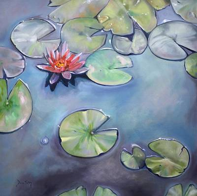 Lotus Leaves Painting - Frog's Paradise by Donna Tuten