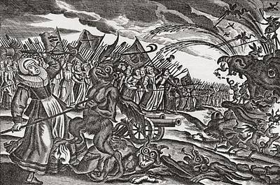 Monster Photograph - From A 17th Century German Satirical Pamphlet On Bad Women.  An Army Of Women Appear by Bridgeman Images