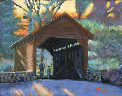 Covered Bridge Painting - From Father To Son by David Zimmerman