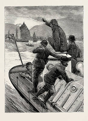 Hong Kong Drawing - From Hong Kong To Macao In A Torpedo Boat, The Start by English School