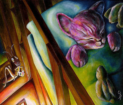 Cricket Painting - From Purple Cat Illustration 19 by Hiroko Sakai