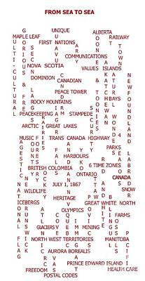 From Sea To Sea - Canada - Crosswords Print by Barbara Griffin