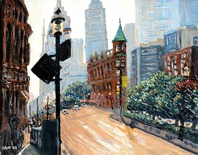 Intersection Painting - Front And Church by Ian  MacDonald