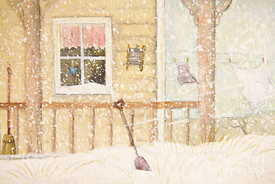 Front Porch In Snow With Clothesline/ Digital Watercolor Print by Sandra Cunningham