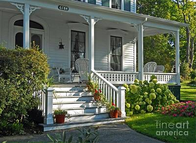 Michigan Farmhouse Photograph - Front Porch In Summer by Desiree Paquette