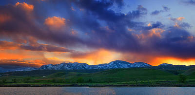 Colorado Sunset Photograph - Front Range Light Show by Darren  White