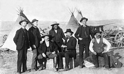 1875 Photograph - Frontier Men At An Indian Camp by Underwood Archives