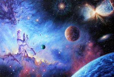 Nebula Painting - Frontiers Of The Cosmos by Lucy West
