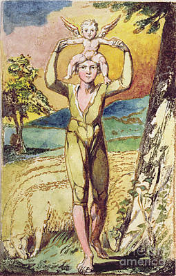 Blake Drawing - Frontispiece From Songs Of Innocence by William Blake