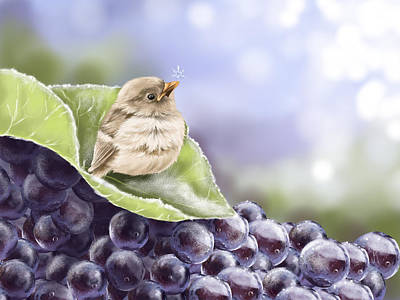 Grape Leaf Painting - Frost by Veronica Minozzi