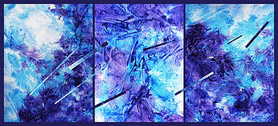 Frozen Castle Window Blue Abstract Print by Irina Sztukowski
