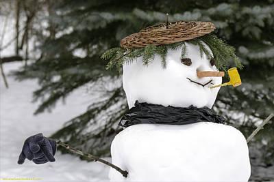 Christmas Photograph - Frosty With A Corn Cob Pipe by LeeAnn McLaneGoetz McLaneGoetzStudioLLCcom