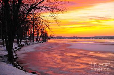 Frozen Dawn At Lake Cadillac  Print by Terri Gostola