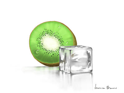 Kiwi Art Painting - Frozen Fruit by Veronica Minozzi