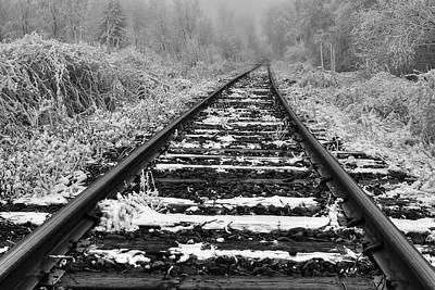 Frozen Illusion - Train Tracks Vanish  Into Frozen Fog Print by Mark Kiver