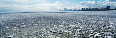 Built Structure Photograph - Frozen Lake With A City by Panoramic Images