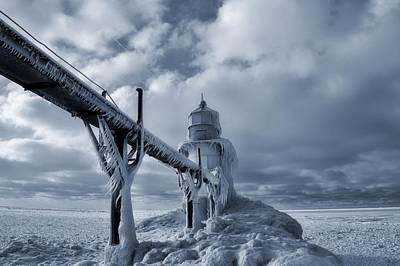 Frozen Lighthouse In Saint Joseph Michigan Print by Dan Sproul