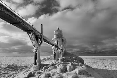 Frozen Lighthouse Lake Michigan  Print by Dan Sproul