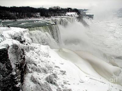 Frozen Niagara And Bridal Veil Falls Print by Rose Santuci-Sofranko