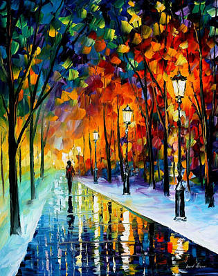 Frozen Night - Palette Knife Oil Painting On Canvas By Leonid Afremov Original by Leonid Afremov