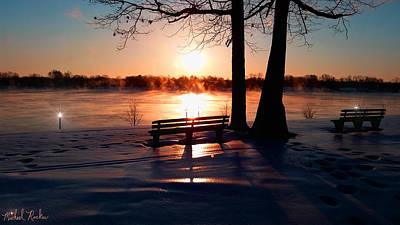 Frozen Park Benches Original by Michael Rucker