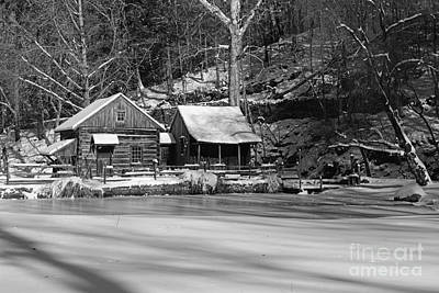 Mill In Woods Photograph - Frozen Pond In Black And White by Paul Ward