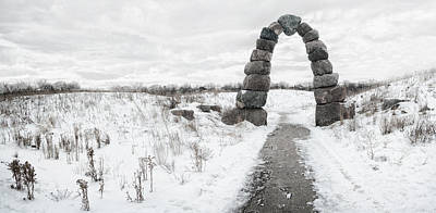 Entrance Photograph - Frozen Stone Arch by Scott Norris