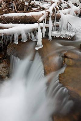 Frozen Waterfall In Valley Martelltal Print by Martin Zwick