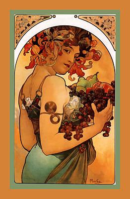 Fruit Print by Alphonse Maria Mucha