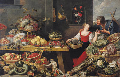 Cauliflower Photograph - Fruit And Vegetable Market Oil On Canvas by Frans Snyders
