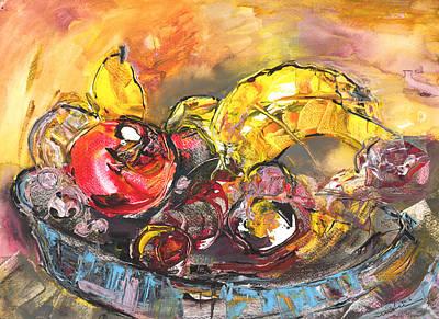 Banana Painting - Fruit Basket by Miki De Goodaboom