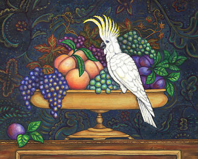 Cockatoo Painting - Fruit Bowl And Cockatoo by Linda Mears