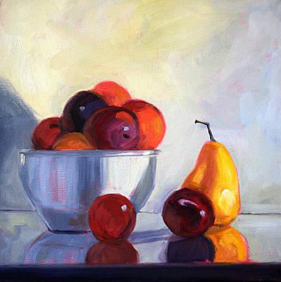 Peaches Painting - Fruit Bowl by Nancy Merkle