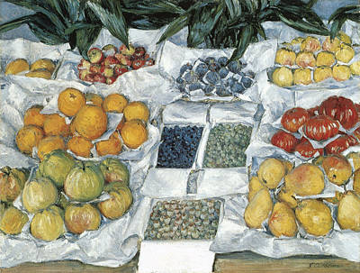 Fruit Stand Painting - Fruit Displayed On A Stand by Gustave Caillebotte