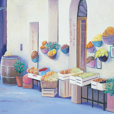 Fruit Market In Tuscany Print by Jan Matson