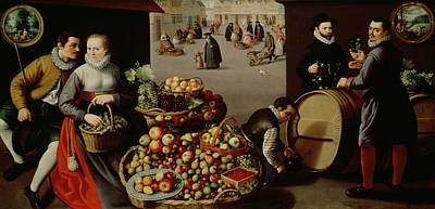 Food Stores Painting - Fruit Market by Lucas van Valckenborch