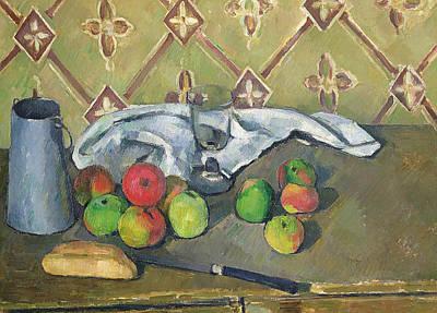 Fruit Serviette And Milk Jug Print by Paul Cezanne
