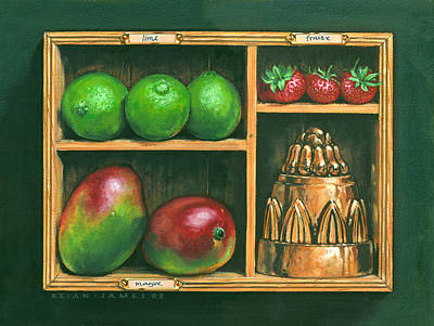 Mango Painting - Fruit Shelf by Brian James