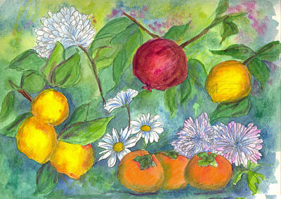 Mums Painting - Lemons And A Pomegranate by Cathie Richardson