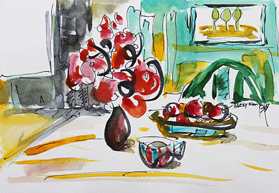 Loose Style Painting - Fruits And Tea by Becky Kim