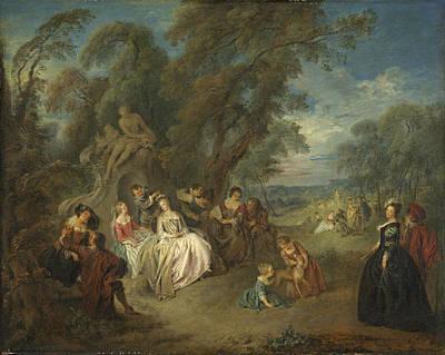 Children Playing Photograph - Fête Champêtre, C. 1730 Oil On Canvas by Jean-Baptiste Joseph Pater